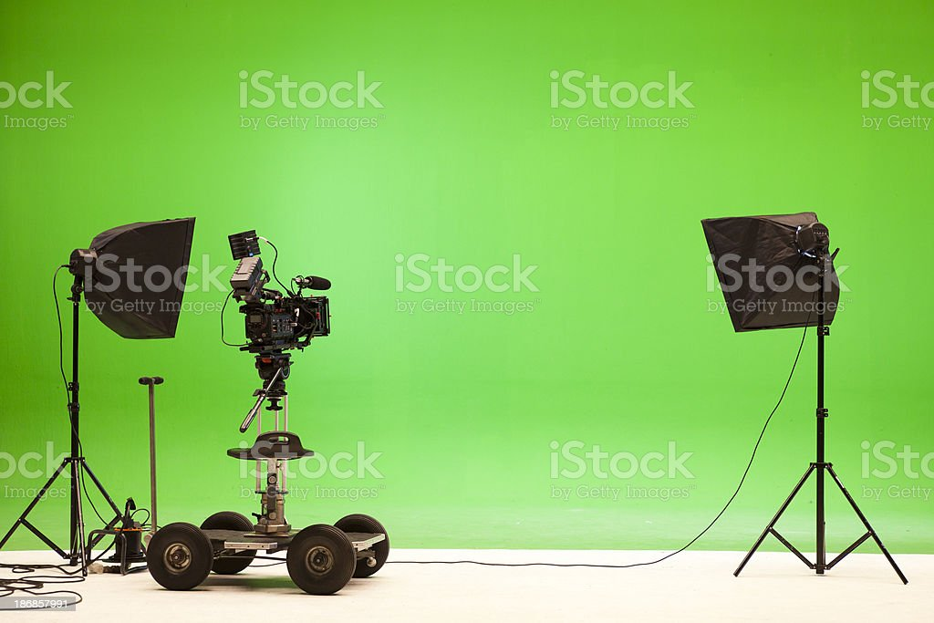 Greenscreen studio setup stock photo