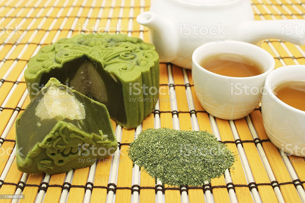 Greentea Mooncake With Teacup And Teapot royalty-free stock photo