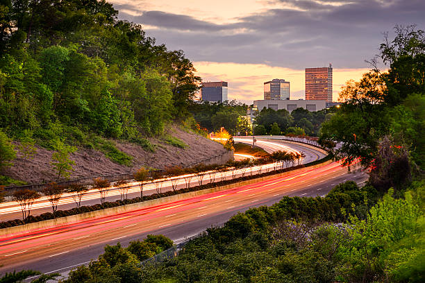 Greenville, South Carolina Highway Greenville, South Carolina cityscape over Interstate 385. spartanburg stock pictures, royalty-free photos & images