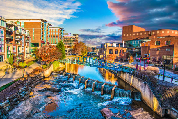 Greenville, South Carolina Reedy River and Skyline in Downtown Greenville South Carolina SC. liberty bridge budapest stock pictures, royalty-free photos & images