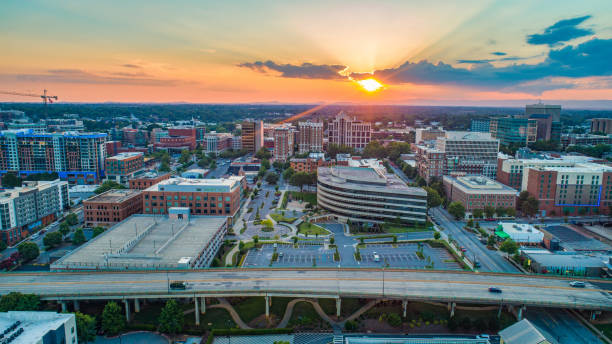 Greenville South Carolina SC Skyline Aerial at Sunset Greenville South Carolina SC Skyline Aerial at Sunset. spartanburg stock pictures, royalty-free photos & images