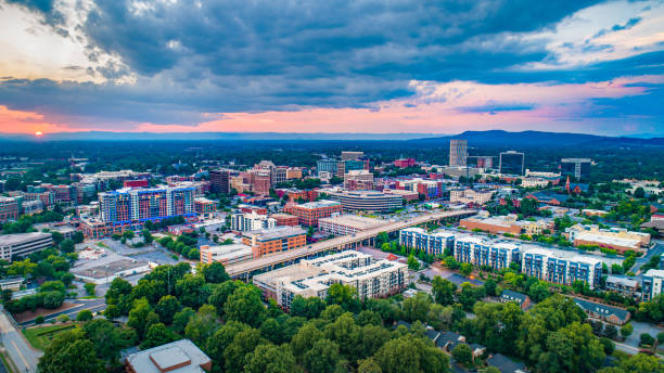 Greenville South Carolina SC Skyline Aerial at Sunset Greenville South Carolina SC Skyline Aerial at Sunset. south carolina stock pictures, royalty-free photos & images