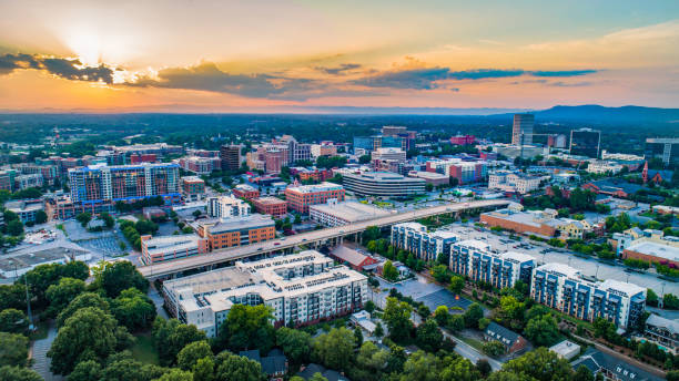 Greenville South Carolina Sunset Aerial Greenville South Carolina Sunset Aerial. spartanburg stock pictures, royalty-free photos & images