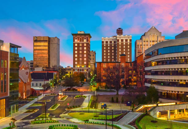 Greenville, South Carolina, USA Downtown Cityscape Downtown Greenville, SC South Carolina Skyline Cityscape at Sunrise liberty bridge budapest stock pictures, royalty-free photos & images
