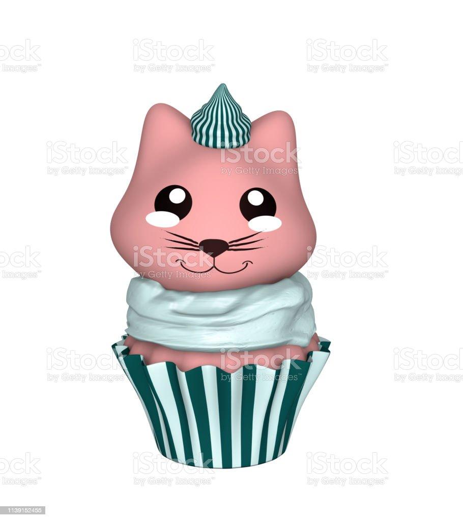Grün-weißer Cupcake mit rosa Kätzchen im Kawaii-Stil. – Foto