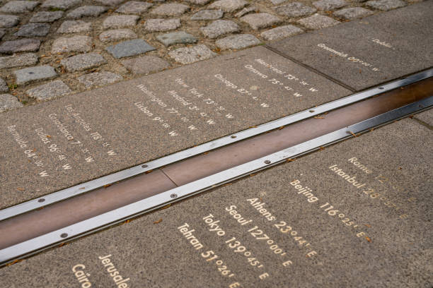 Greenwich Meridian line at Royal Observatory stock photo