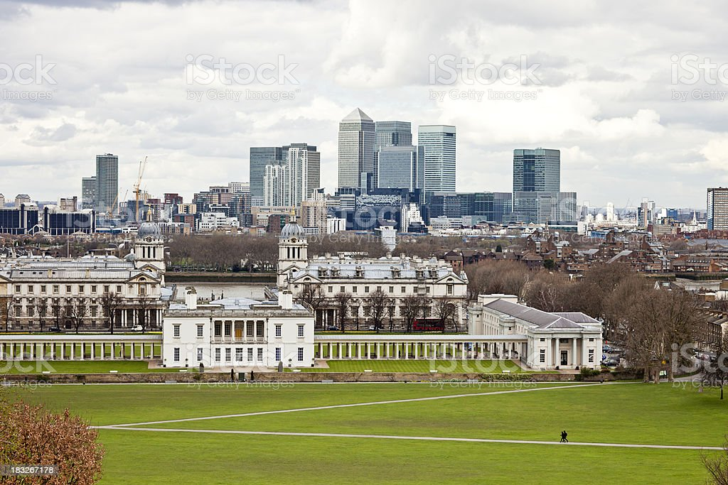 Greenwich park and Canary Wharf, London royalty-free stock photo