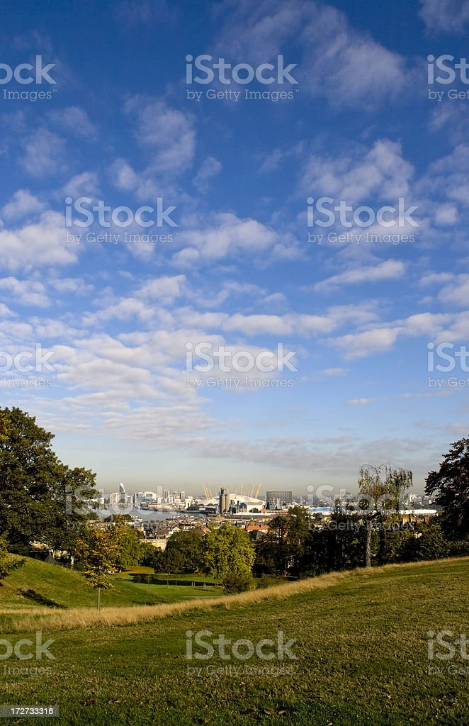Greenwich Park, River Thames and Millenium Dome royalty-free stock photo
