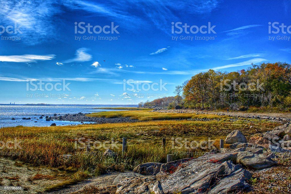 Greenwich Point Park Shoreline in Autumn stock photo