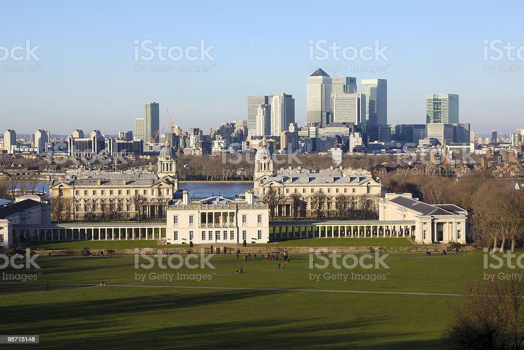 Greenwich skyline in London, England stock photo