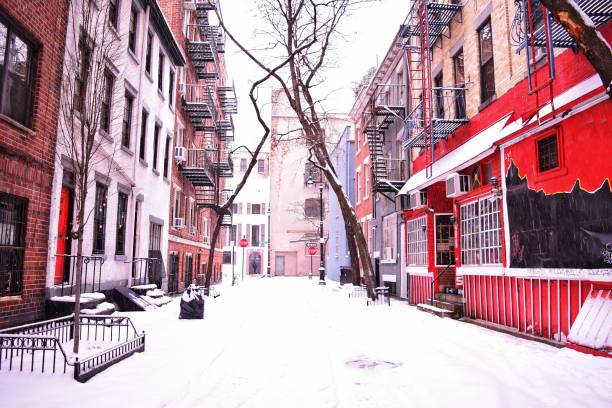 Greenwich Village Winter Snowstorm, Minetta Street, New York City stock photo