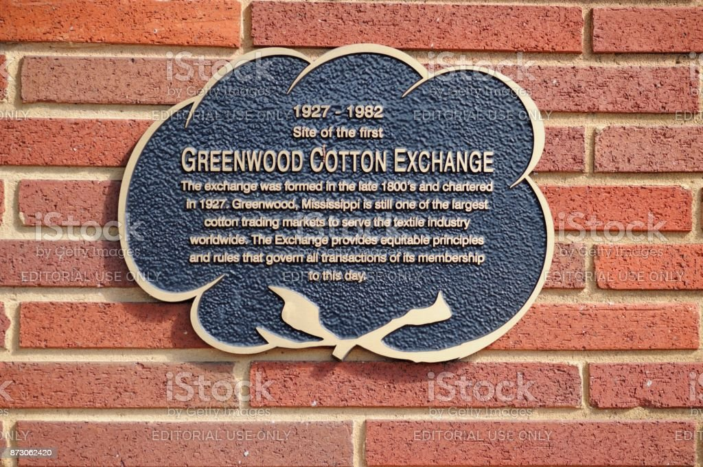 Greenwood Cotton Exchange sign on building exterior stock photo