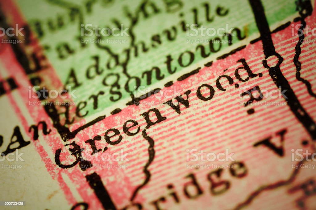 Greenwood, Delaware on an Antique map stock photo