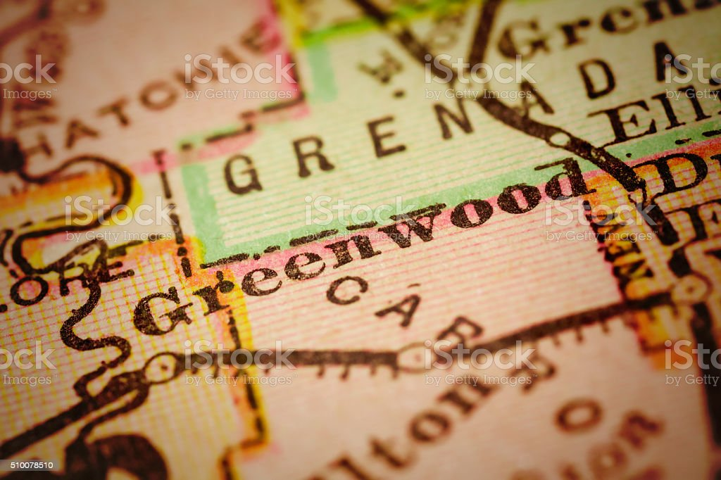 Greenwood, Mississippi on an Antique map stock photo
