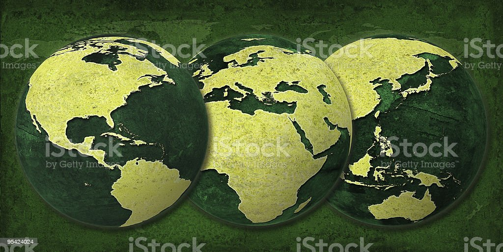 Greenworld, Three Hemispheres same size royalty-free stock photo