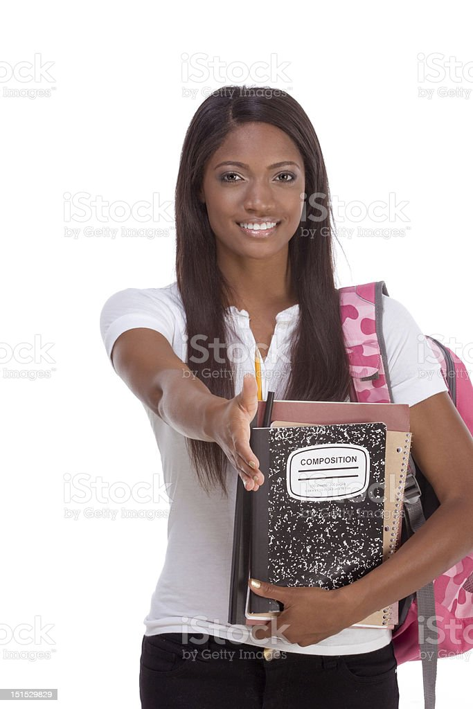 greeting African American woman College student royalty-free stock photo