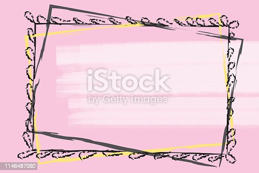 black and yellow greeting frame on pink background