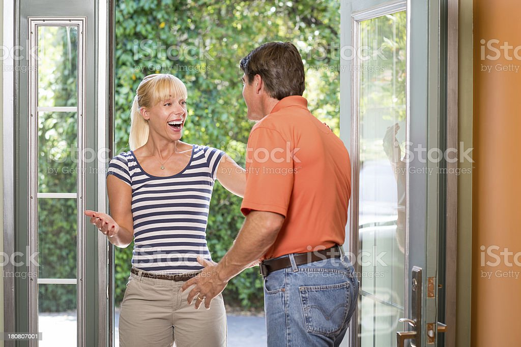 Greeting At The Front Door royalty-free stock photo