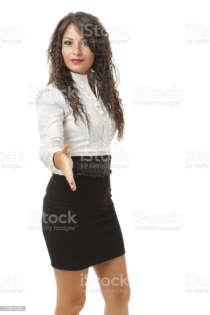 Greeting business woman royalty-free stock photo
