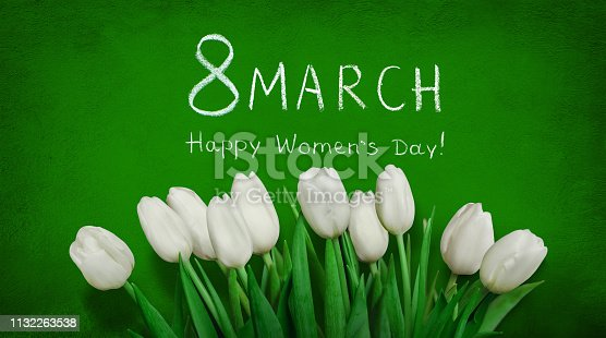 istock Greeting card 8 March Happy Women's Day 1132263538