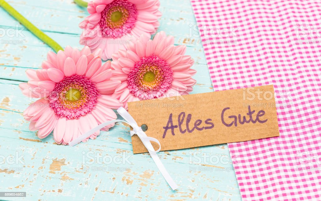 Greeting card, all the best, with beautiful bunch of pink flowers stock photo