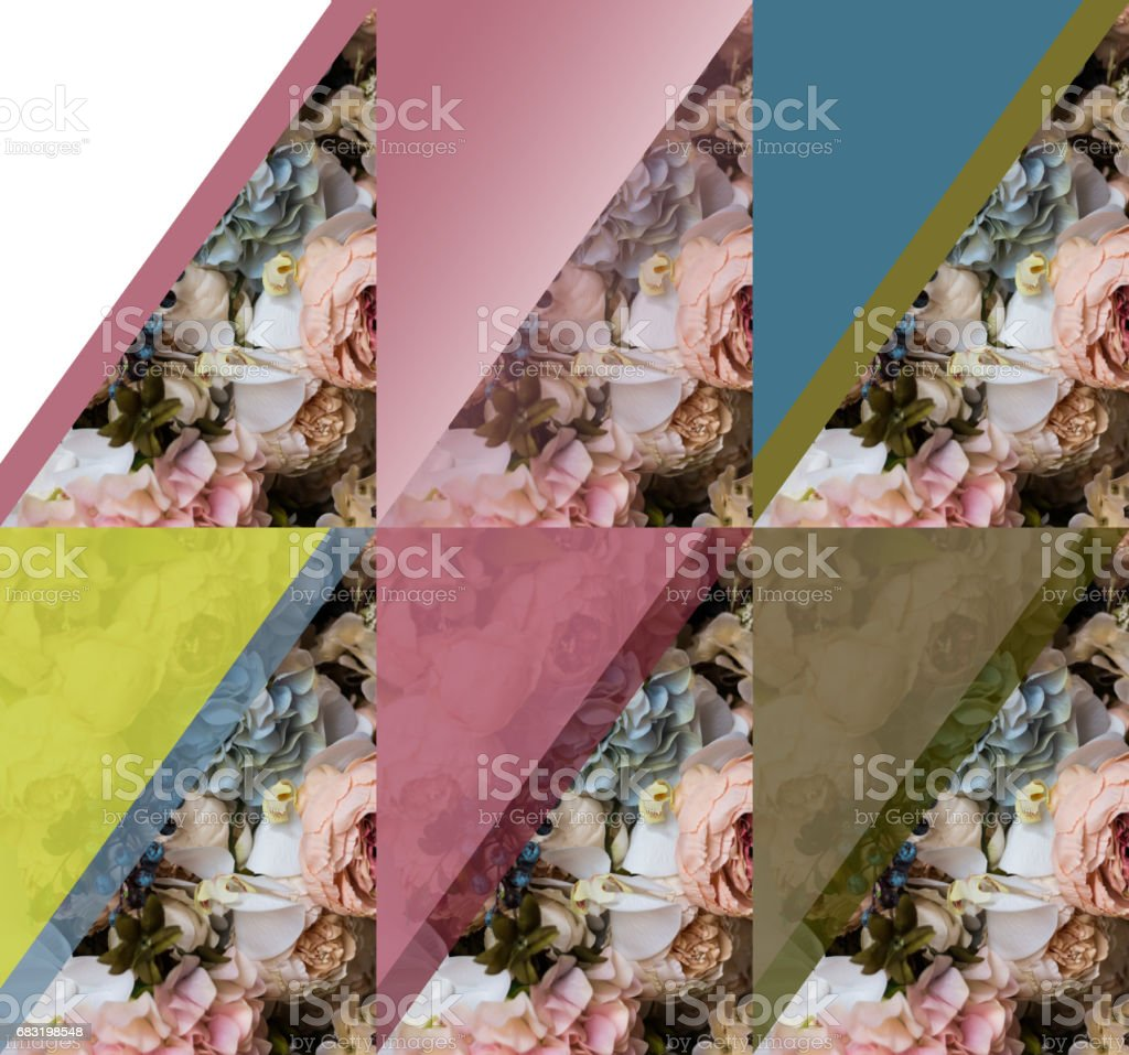 Greeting card background with different flowers in a variety of design and colors. In the picture there is a place to insert text. 免版稅 stock photo