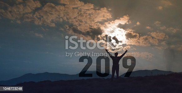 istock Greeting card  designs for Traveller Happy new year 2019 1046723248