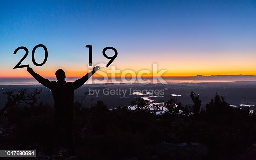 istock Greeting card  designs for Traveller Happy new year 2019 1047690694