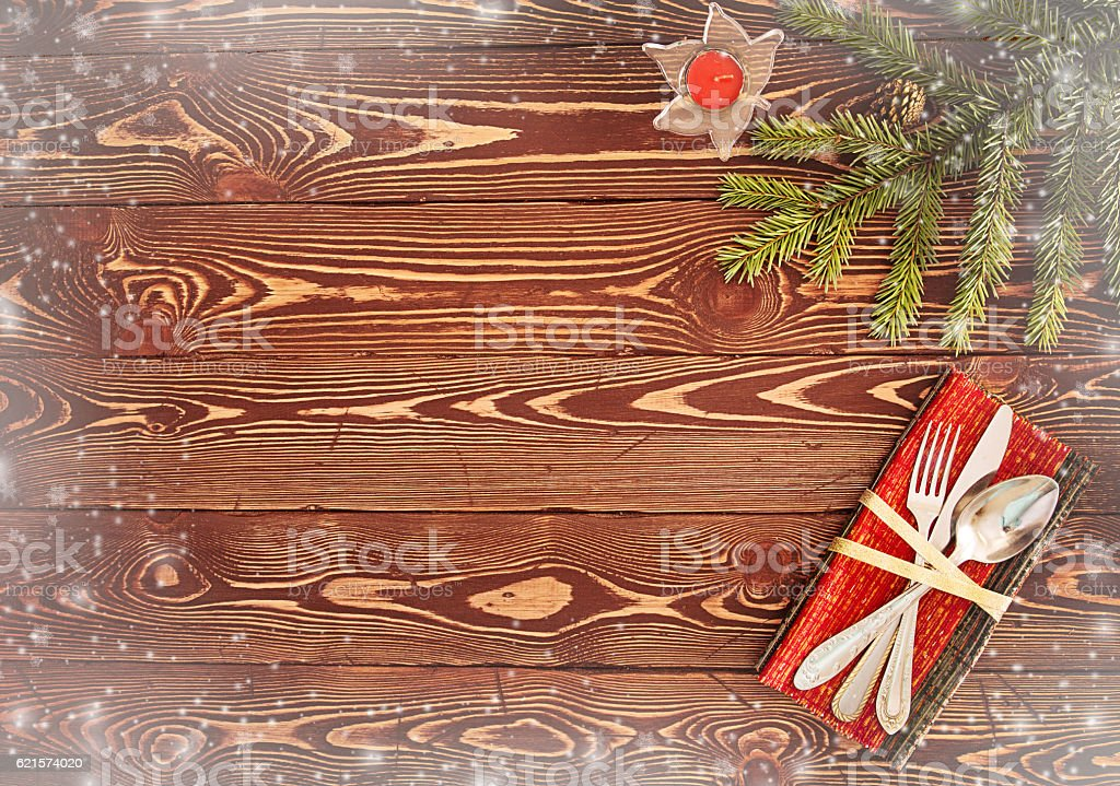 Greeting card for Christmas dinner. Silverware on wooden table photo libre de droits