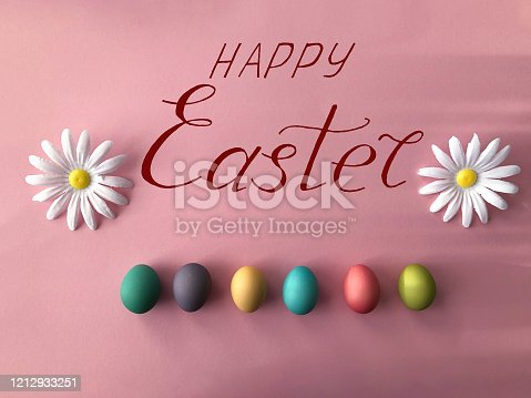 istock Greeting card for Easter with eggs and the text -