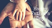 Greeting card for HAPPY FATHERS DAY with man's stuff on it, dad day, holiday for father