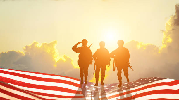 Greeting card for Veterans Day , Memorial Day, Independence Day .USA celebration. Concept - patriotism, protection, remember ,honor. 3D illustration Greeting card for Veterans Day , Memorial Day, Independence Day .USA celebration. Concept - patriotism, protection, remember ,honor. 3D illustration us military stock pictures, royalty-free photos & images
