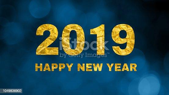 istock Greeting card Happy New Year 2019 1049836902