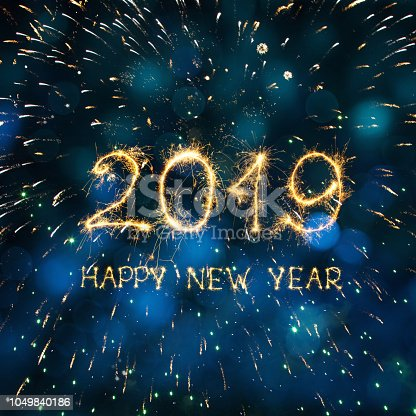 977840698 istock photo Greeting card Happy New Year 2019 1049840186