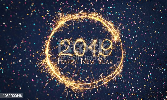 977840698 istock photo Greeting card Happy New Year 2019 1072200548