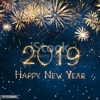 977840698 istock photo Greeting card Happy New Year 2019 1072200562