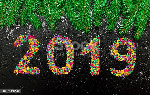 1080262636 istock photo Greeting card Happy New Year 2019 1078986548
