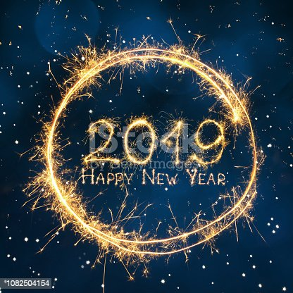 977840698 istock photo Greeting card Happy New Year 2019 1082504154