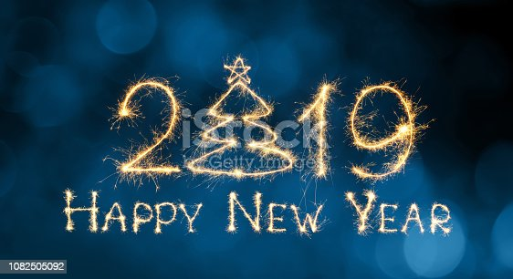 1049836902 istock photo Greeting card Happy New Year 2019 1082505092