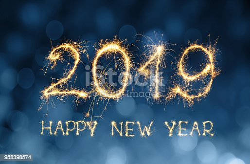 977840698 istock photo Greeting card Happy New Year 2019 958398574