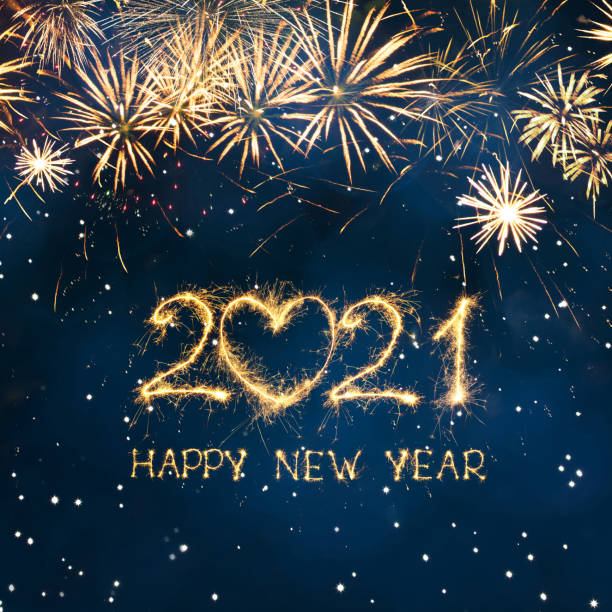 Greeting card Happy New Year 2021 Greeting card Happy New Year 2021. Beautiful Square holiday web banner or billboard with Golden sparkling text Happy New Year 2021 written sparklers on festive blue background. happy new year 2021 stock pictures, royalty-free photos & images
