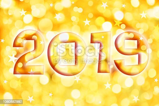 1049972562 istock photo 2019 greeting card on golden shiny holiday lights background 1060882992