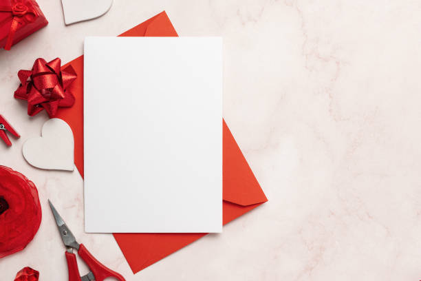 Greeting Card on Red Envelope Mockup With Copy Space stock photo