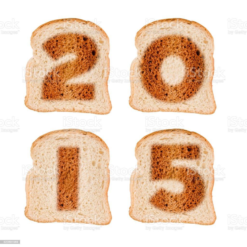 2015, Carte de voeux et d'anniversaire tranches de pain grillé - Photo