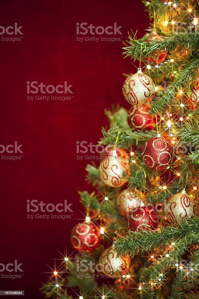 Greeting card, one side covered with ornate Christmas tree stock photo