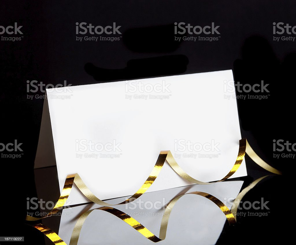 greeting card with a ribbon streamers stock photo