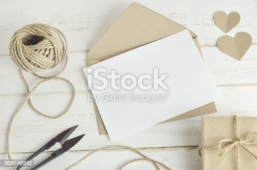 istock greeting card with brown envelop 508749342