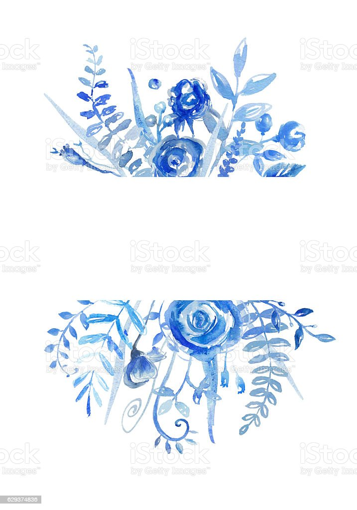 Greeting card with floral elements  on white background. stock photo