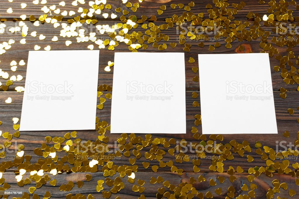 Greeting card with hearts on a old wooden background. Valentine's Day stock photo