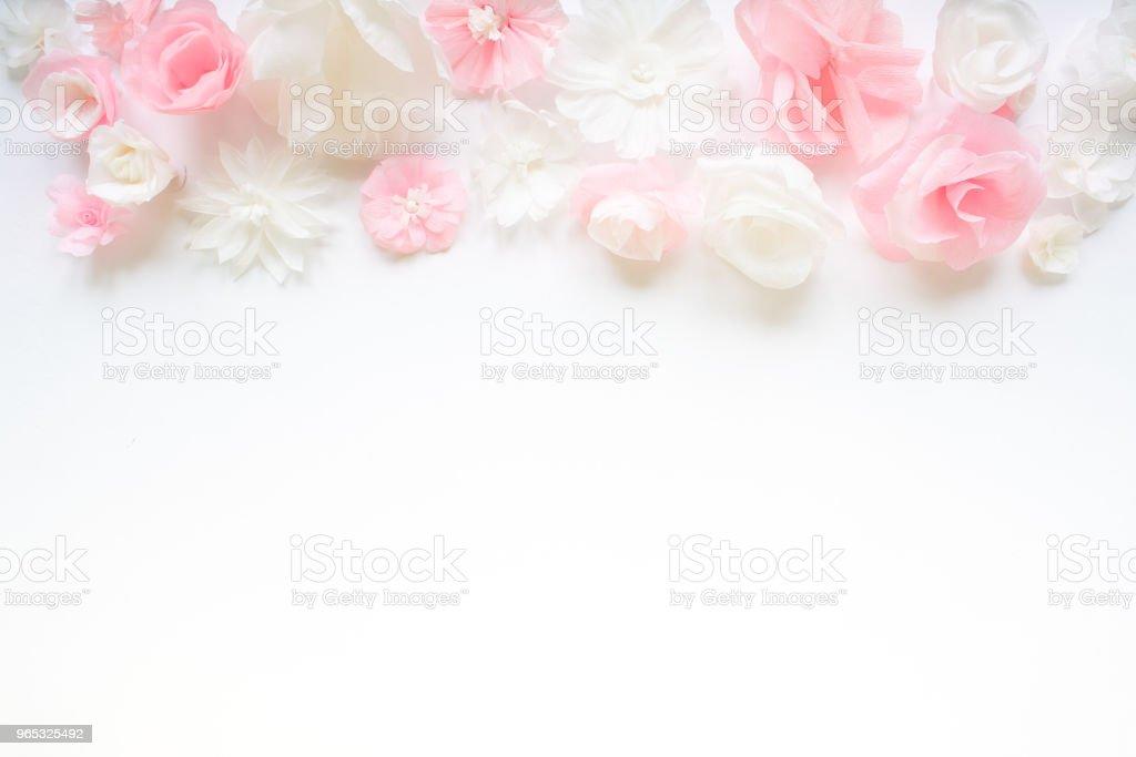 Greeting card with paper flowers zbiór zdjęć royalty-free